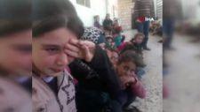 İdlib'teki saldırı sırasında öğrencilerin yaşadığı korku kamerada