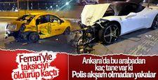 Lüks aracın sürücüsü taksiye çarptı kaçtı