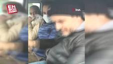 Maskesiz şahıs, polisi görünce yüzünü poşetle kapattı