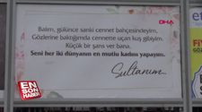 Sivas'ta bir kişi, aşkını billboarddan ilan etti.