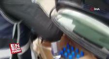 Otomobilin bagajında 89 şişe sahte alkol bulundu