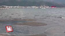 Marmaris'te deniz suyu çekildi, adacıklar oluştu