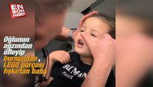 Oğlunun ağzından üfledi burnundan LEGO parçası fışkırdı