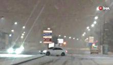 Sivas'ta lüks araç karda kaydı