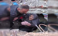 Elazığ'da enkaz altında kalan Hatun Yamış'ın kurtarılma anları