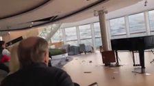 Norveç'te sürüklenen geminin içinden görüntüler