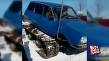 Trabzon'da ustalar Torosu paletli kar aracına dönüştürdü