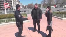 Taksim'de bir çift yakın temastan ceza yedi