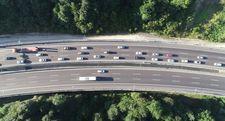 TEM'de bayram trafiği havadan görüntülendi