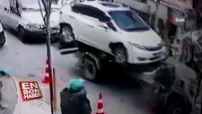 İçinde çocuk varken otomobili çektiler