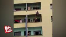 Brazilya'da polisler intihara kalkışan şahsı tekmeyle kurtardı
