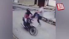 Motosikletli hırsıza uçan tekme attı
