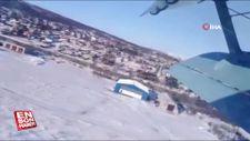Rusya'da uçağın düşme anı görüntülendi