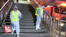 İstanbul'da metrobüs ve duraklar dezenfekte ediliyor