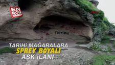 Tarihi mağaralara sprey boyalı aşk ilanı