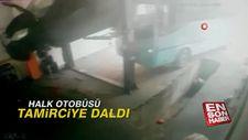 Esenyurt'ta halk otobüsü oto tamirciye daldı