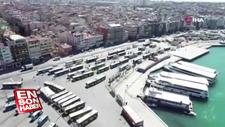 Boş kalan Kadıköy Meydanı havadan görüntülendi
