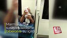 Marmaray'da susayan kedisine biberonla su içirdi