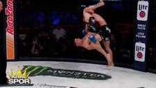 Korkunç hareketten kurtulup maçı kazanan MMA düvüşcüsü