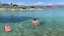 Çinli turistlerin Antalya'da deniz keyfi