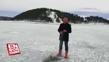 Buz tutan gölette devasa boyutlarda balıkçı ağı bulundu