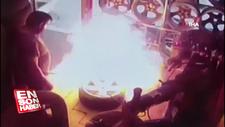 Oto tamircide nitrojen dolu lastik patladı