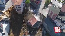 Çöken binanın yıkılma anı havadan görüntülendi