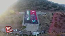 Afrin'e Erdoğan posterinin açılma anı
