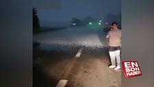 Meksika'da ilginç dolu yağışı