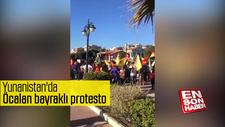 Yunanistan'da Öcalan bayraklı protesto