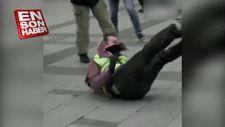 Fransa'da polisin göstericiyi sürüklediği anlar