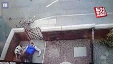 Duvara çarpan bisikletli bahçeye uçtu