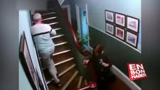 Sarhoş çiftin merdivenle imtihanı