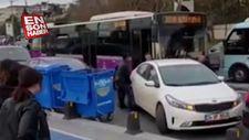 Hatalı park eden aracı kenara taşıdılar