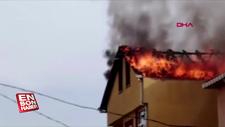 Pendik'te 3 katlı binanın çatısı alev alev yandı