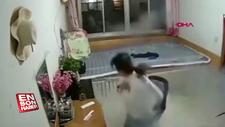 Çin'de ısıtıcılı yatağın patlama anı