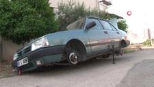 Borçla aldığı aracının jant ve lastiklerini çaldılar