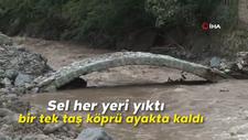 Araklı'daki sel her yeri yıktı, bir tek taş köprü ayakta kaldı