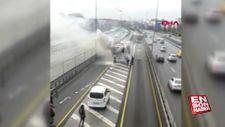 Çağlayan'da metrobüs yangını: Seferler aksıyor