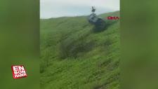 Rusya'da arazi aracı takla attı, sürücü camdan çıktı