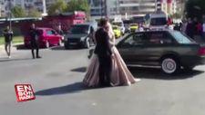İstanbul'dan kaydedilen düğün konvoyu görüntüleri