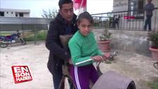 Yeni bisiklet gönderilen Ayşe'nin mutluluğu