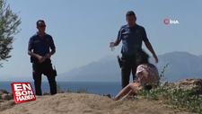 Antalya'da polisin alkollü kadınla imtihanı