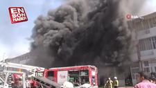 Plastik hammaddelerinin bulunduğu bir fabrikada yangın