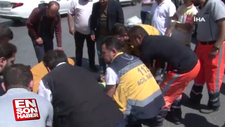 Kazada yaralanan vatandaşa, temizlik işçisi yardım etti