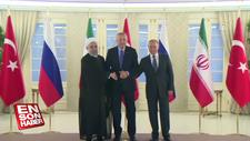 Cumhurbaşkanı Erdoğan, Putin ve Ruhani bir araya geldi