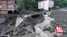 Araklı'da sel felaketinin yaşandığı bölge havadan görüntülendi