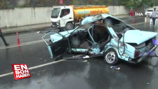 Sağanak yağış sonrası Maslak'ta kaza