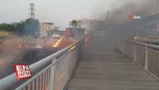 Bursa'da asma köprü alev alev yandı