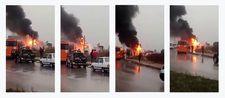 Adana'da işçileri taşıyan servis aracı yandı